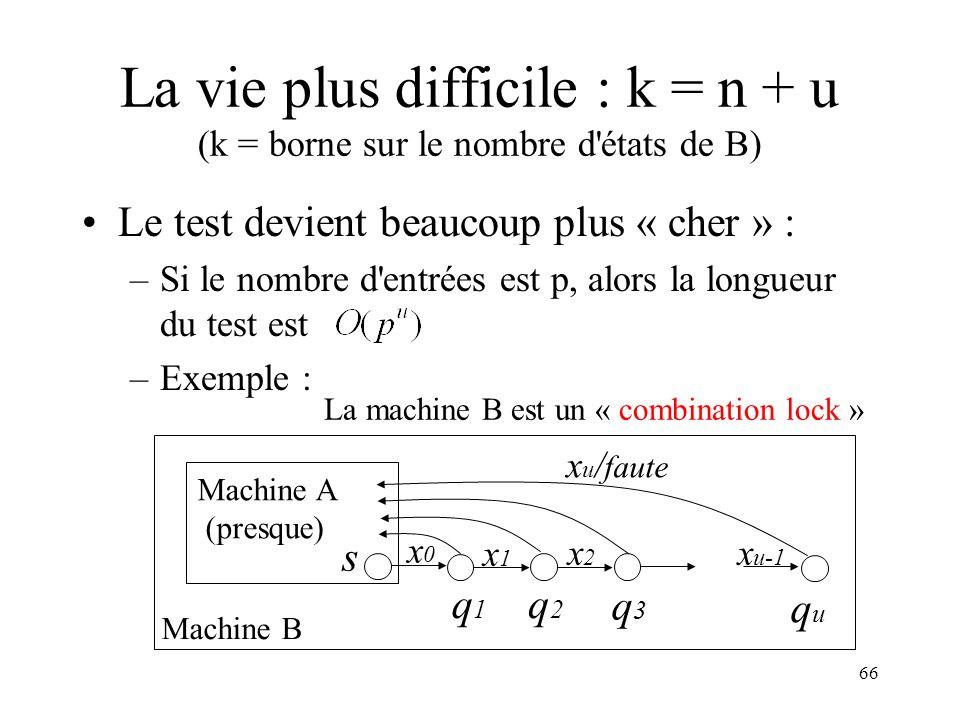 La vie plus difficile : k = n + u (k = borne sur le nombre d états de B)