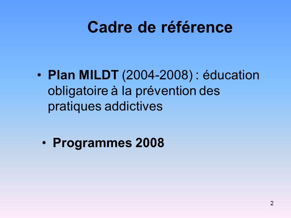 Cadre de référence Plan MILDT (2004-2008) : éducation obligatoire à la prévention des pratiques addictives.