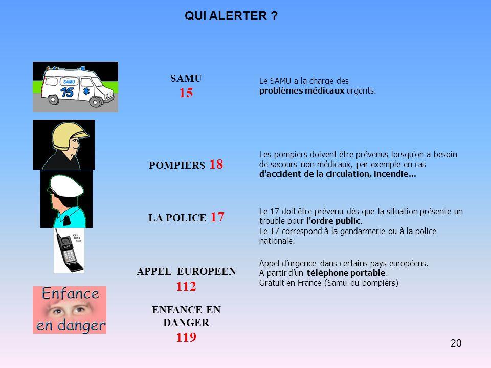 15 112 119 QUI ALERTER SAMU POMPIERS 18 LA POLICE 17 APPEL EUROPEEN