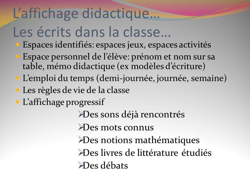 L'affichage didactique… Les écrits dans la classe…