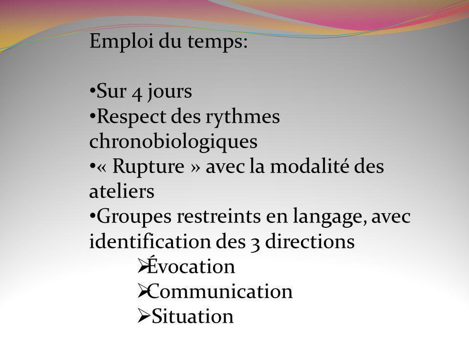 Emploi du temps:Sur 4 jours. Respect des rythmes chronobiologiques. « Rupture » avec la modalité des ateliers.