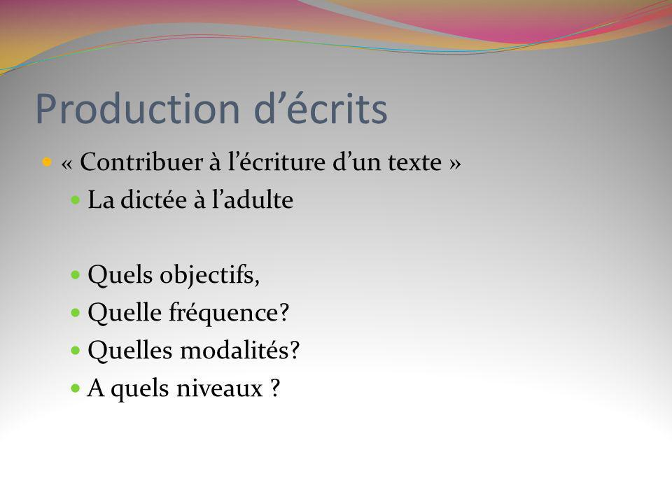 Production d'écrits La dictée à l'adulte Quels objectifs,