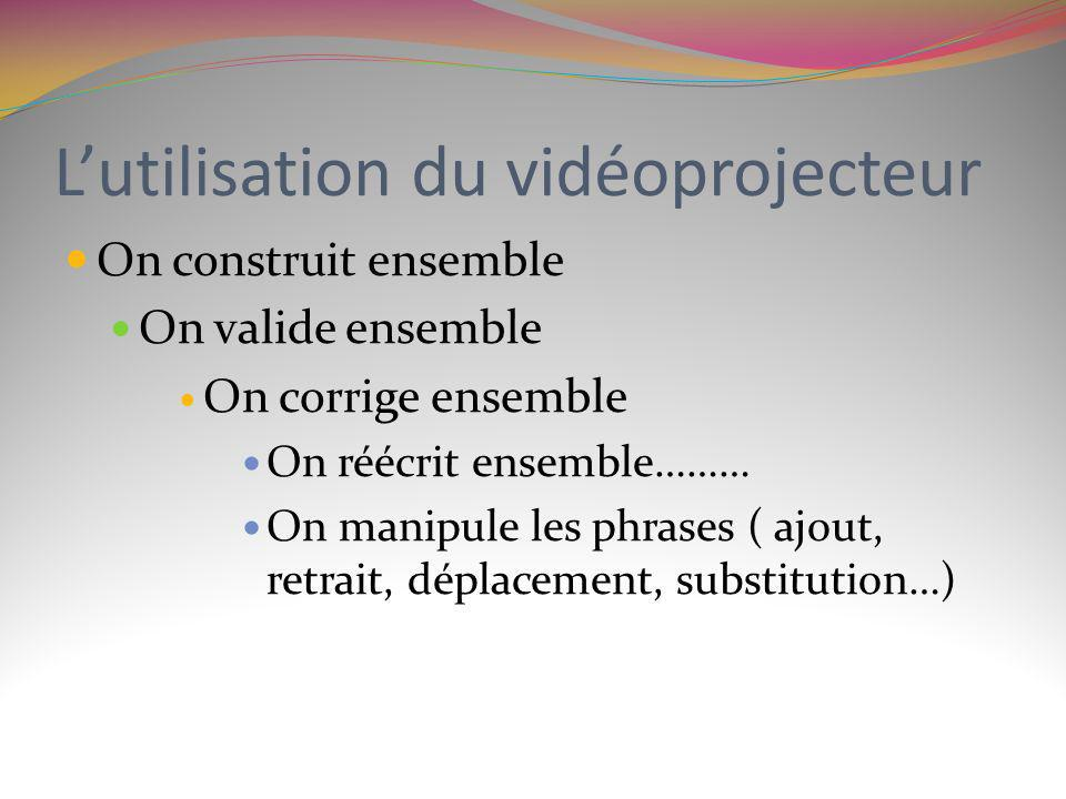 L'utilisation du vidéoprojecteur