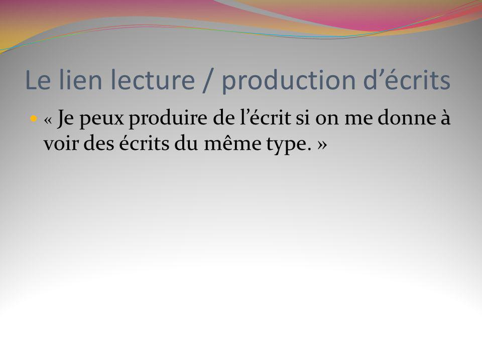 Le lien lecture / production d'écrits