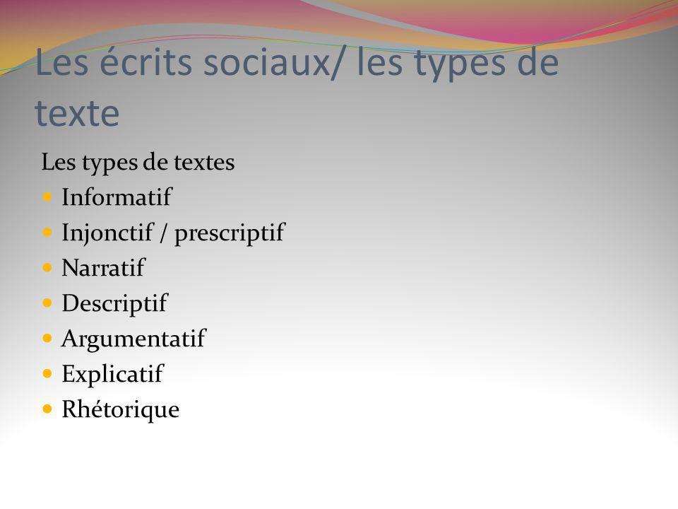 Les écrits sociaux/ les types de texte