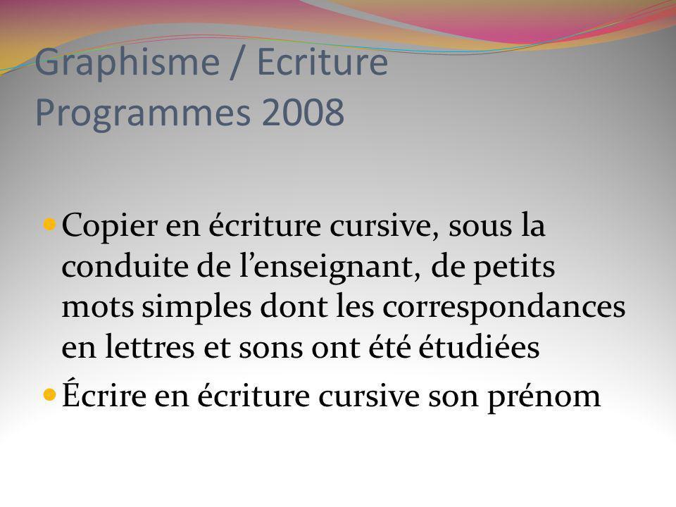 Graphisme / Ecriture Programmes 2008