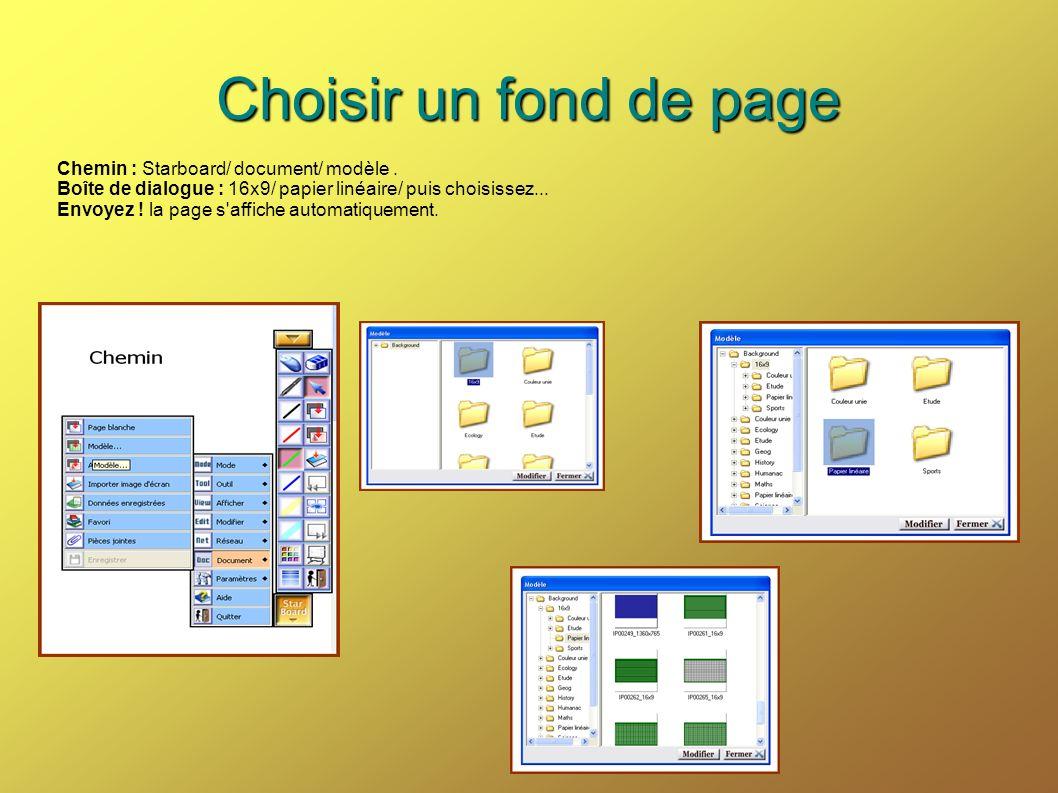 Choisir un fond de page Chemin : Starboard/ document/ modèle .