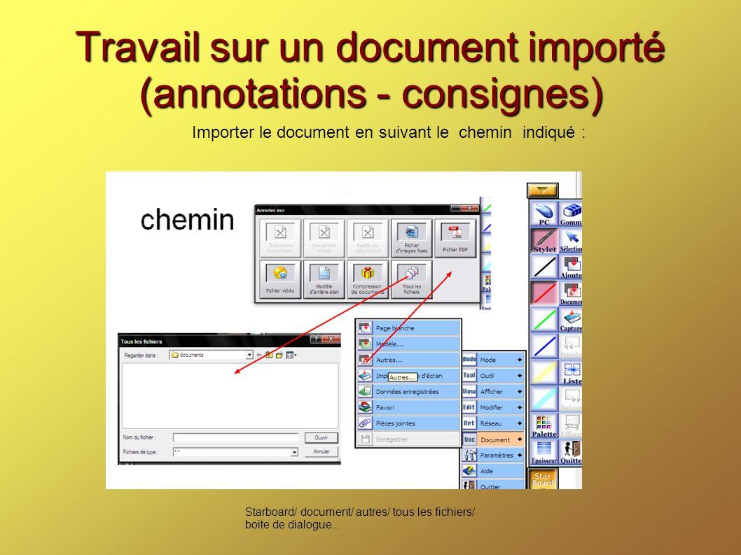 Travail sur un document importé (annotations - consignes)