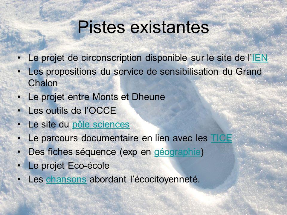 Pistes existantesLe projet de circonscription disponible sur le site de l'IEN. Les propositions du service de sensibilisation du Grand Chalon.