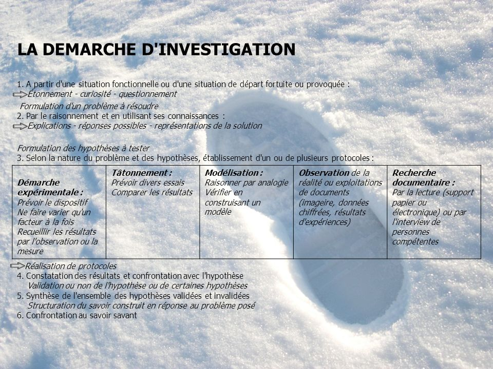 LA DEMARCHE D INVESTIGATION