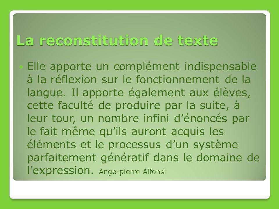 La reconstitution de texte