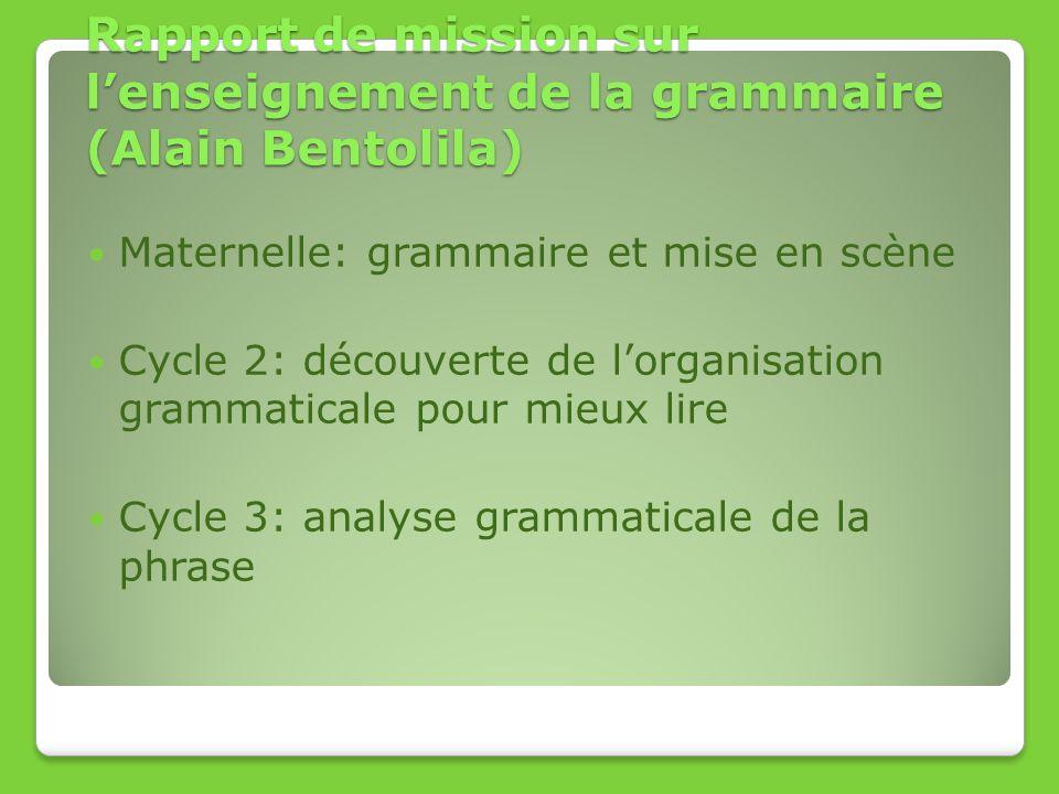 Rapport de mission sur l'enseignement de la grammaire (Alain Bentolila)
