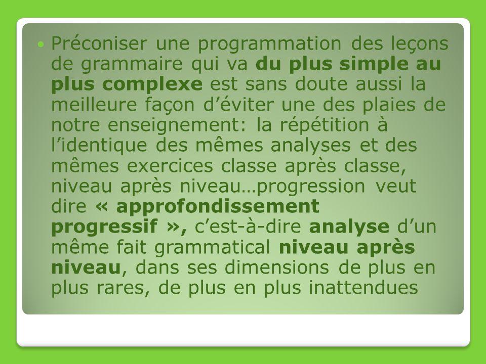 Préconiser une programmation des leçons de grammaire qui va du plus simple au plus complexe est sans doute aussi la meilleure façon d'éviter une des plaies de notre enseignement: la répétition à l'identique des mêmes analyses et des mêmes exercices classe après classe, niveau après niveau…progression veut dire « approfondissement progressif », c'est-à-dire analyse d'un même fait grammatical niveau après niveau, dans ses dimensions de plus en plus rares, de plus en plus inattendues