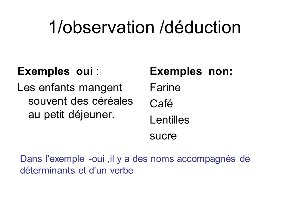 1/observation /déduction