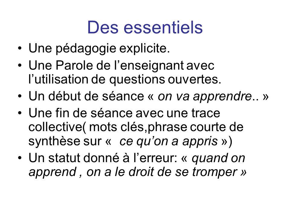 Des essentiels Une pédagogie explicite.