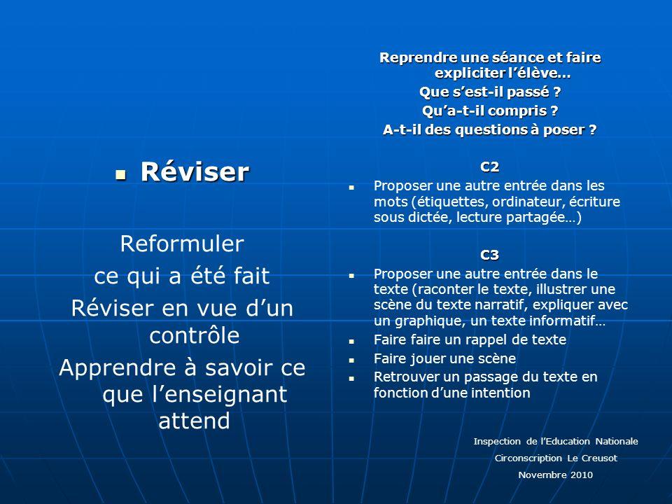 Réviser Reformuler ce qui a été fait Réviser en vue d'un contrôle