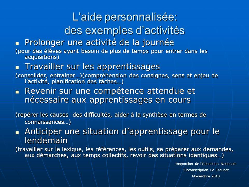 L'aide personnalisée: des exemples d'activités