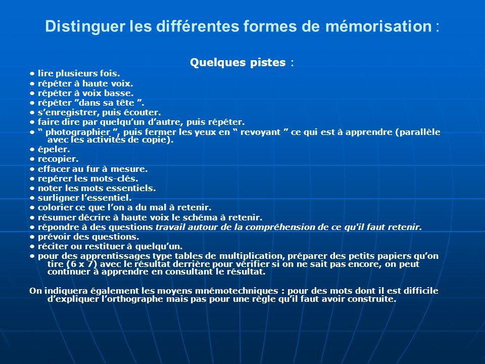 Distinguer les différentes formes de mémorisation :