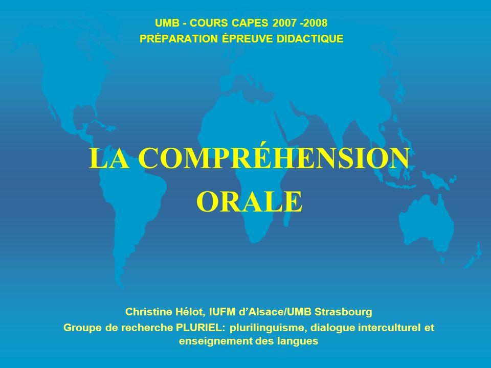 UMB - COURS CAPES 2007 -2008 PRÉPARATION ÉPREUVE DIDACTIQUE