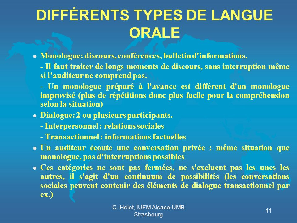 DIFFÉRENTS TYPES DE LANGUE ORALE