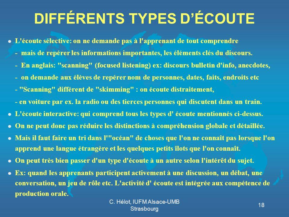 DIFFÉRENTS TYPES D'ÉCOUTE