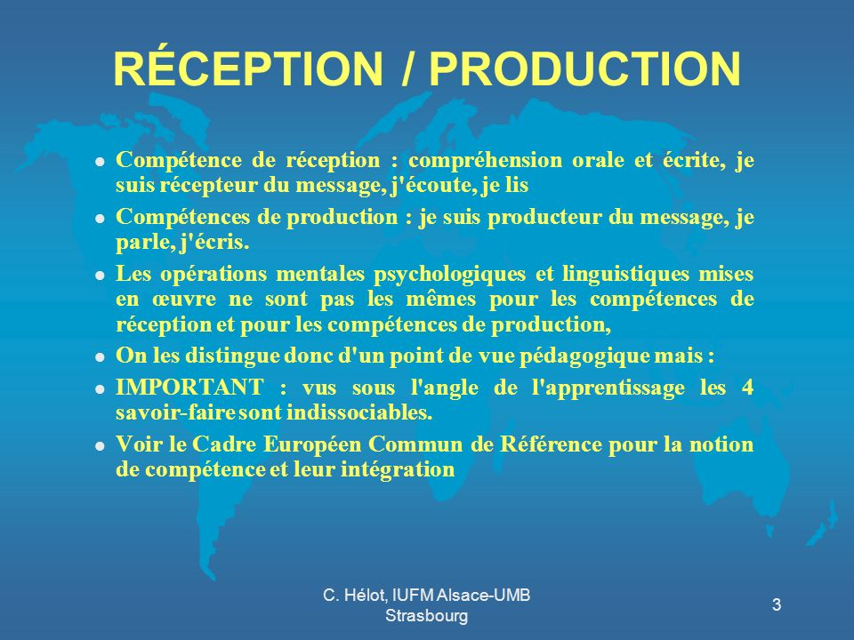 RÉCEPTION / PRODUCTION