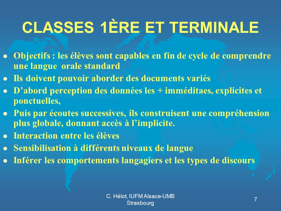 CLASSES 1ÈRE ET TERMINALE