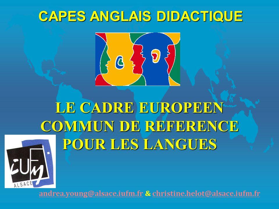 LE CADRE EUROPEEN COMMUN DE REFERENCE POUR LES LANGUES