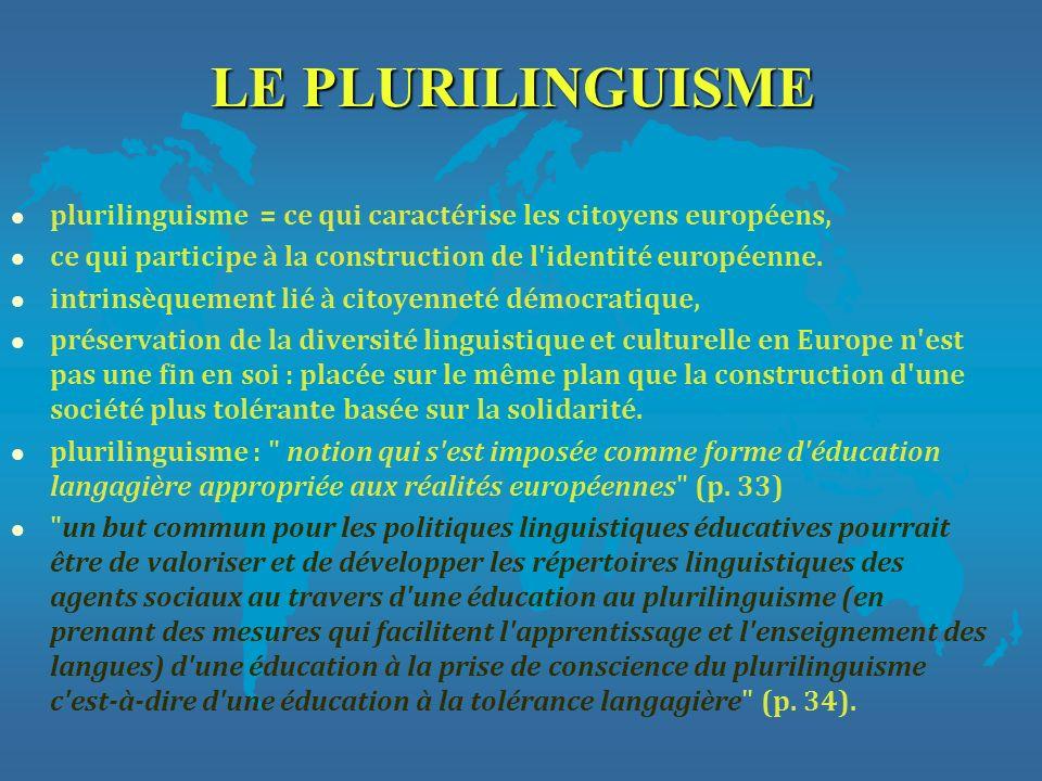 LE PLURILINGUISME plurilinguisme = ce qui caractérise les citoyens européens, ce qui participe à la construction de l identité européenne.