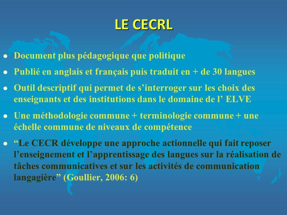 LE CECRL Document plus pédagogique que politique
