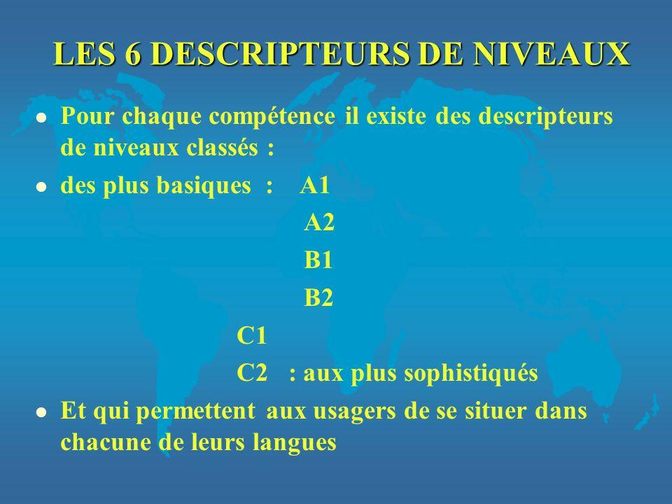 LES 6 DESCRIPTEURS DE NIVEAUX