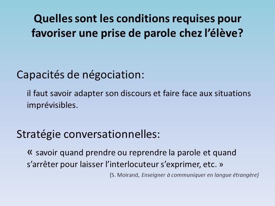 Capacités de négociation: