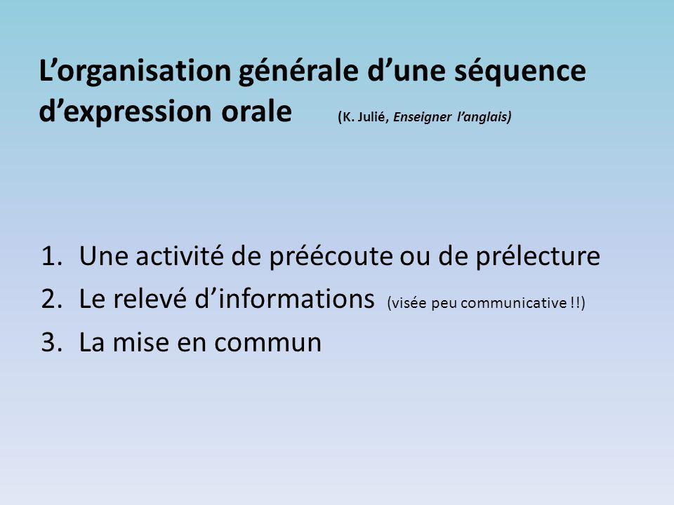 L'organisation générale d'une séquence d'expression orale (K