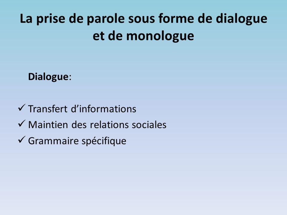 La prise de parole sous forme de dialogue et de monologue