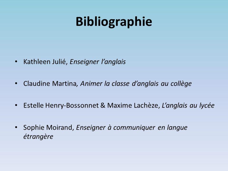 Bibliographie Kathleen Julié, Enseigner l'anglais