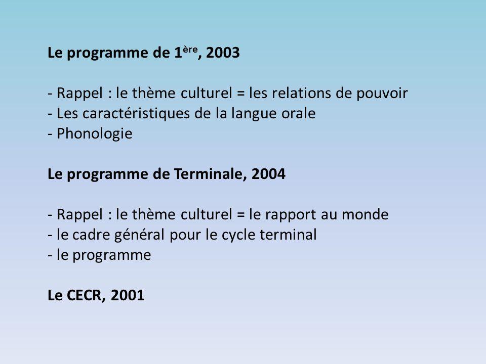Le programme de 1ère, 2003 - Rappel : le thème culturel = les relations de pouvoir. - Les caractéristiques de la langue orale.