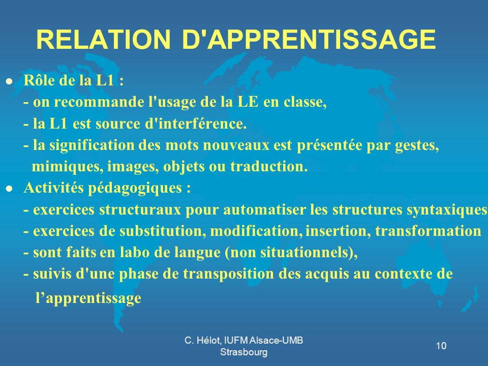 RELATION D APPRENTISSAGE