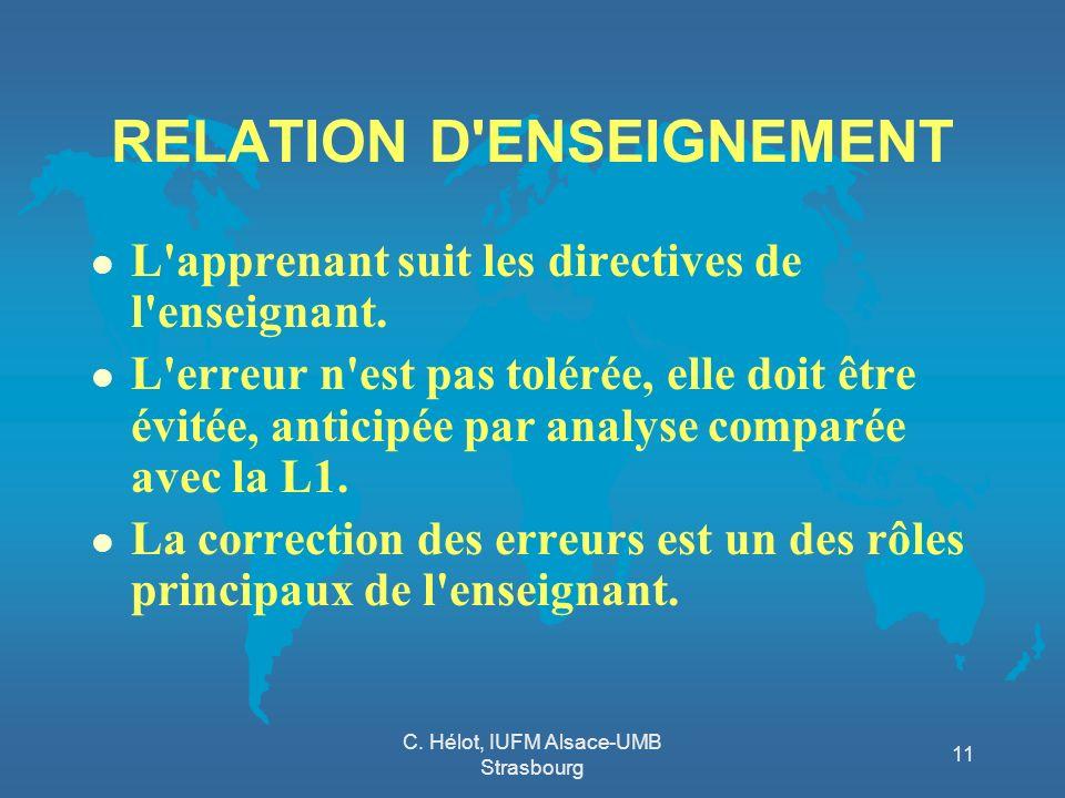 RELATION D ENSEIGNEMENT