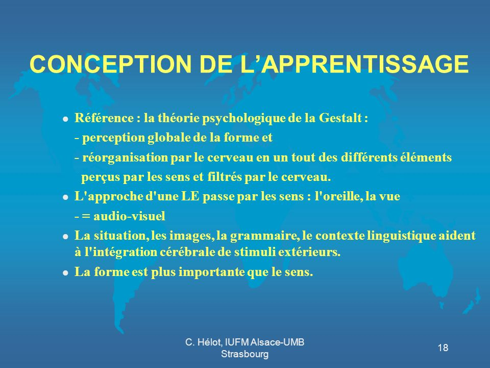 CONCEPTION DE L'APPRENTISSAGE