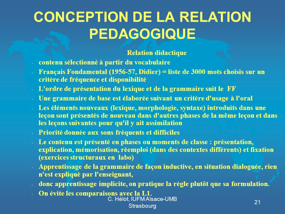 CONCEPTION DE LA RELATION PEDAGOGIQUE