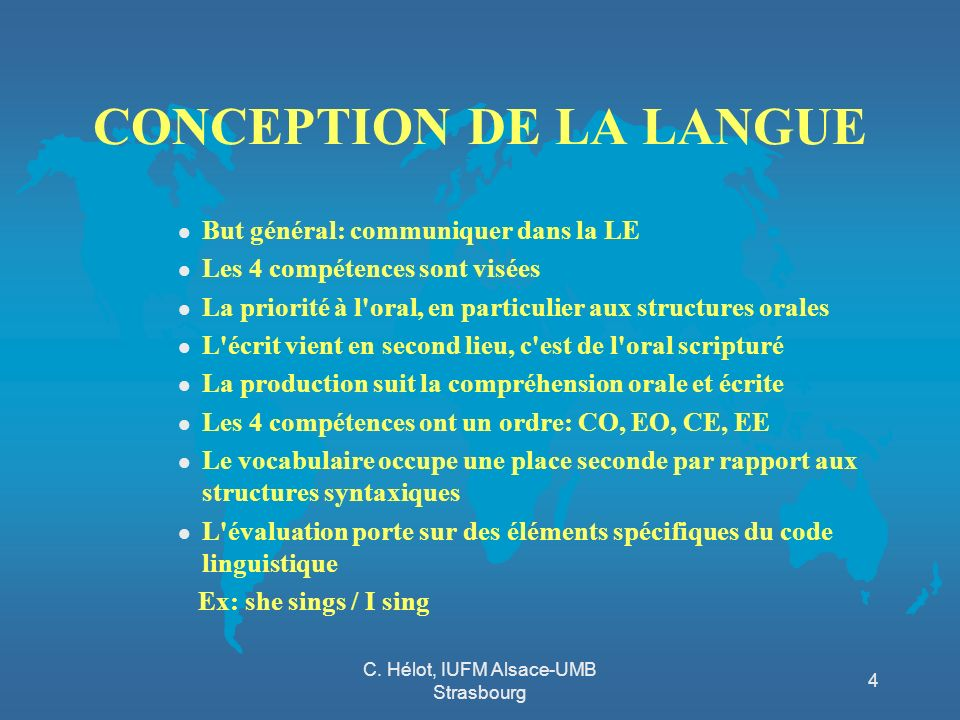 CONCEPTION DE LA LANGUE