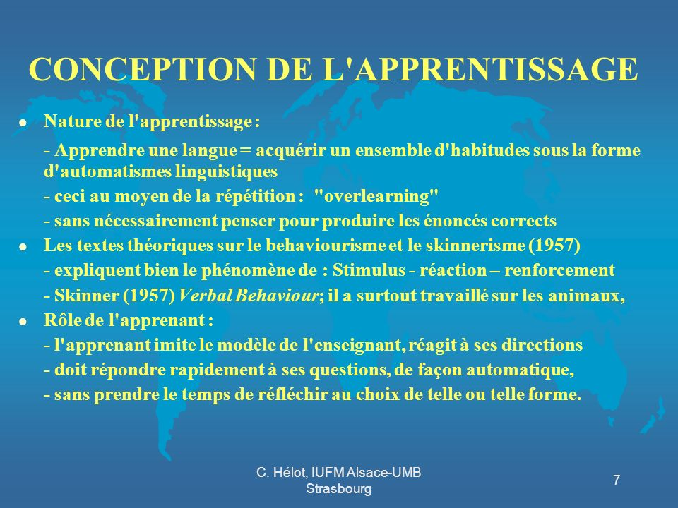 CONCEPTION DE L APPRENTISSAGE