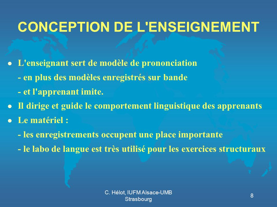 CONCEPTION DE L ENSEIGNEMENT