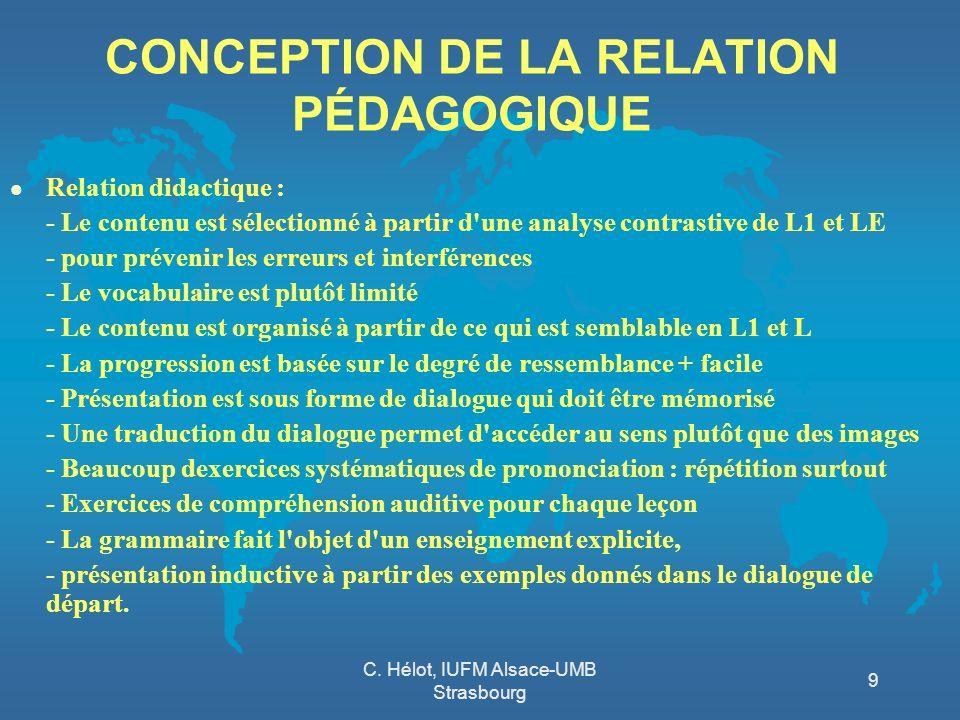 CONCEPTION DE LA RELATION PÉDAGOGIQUE