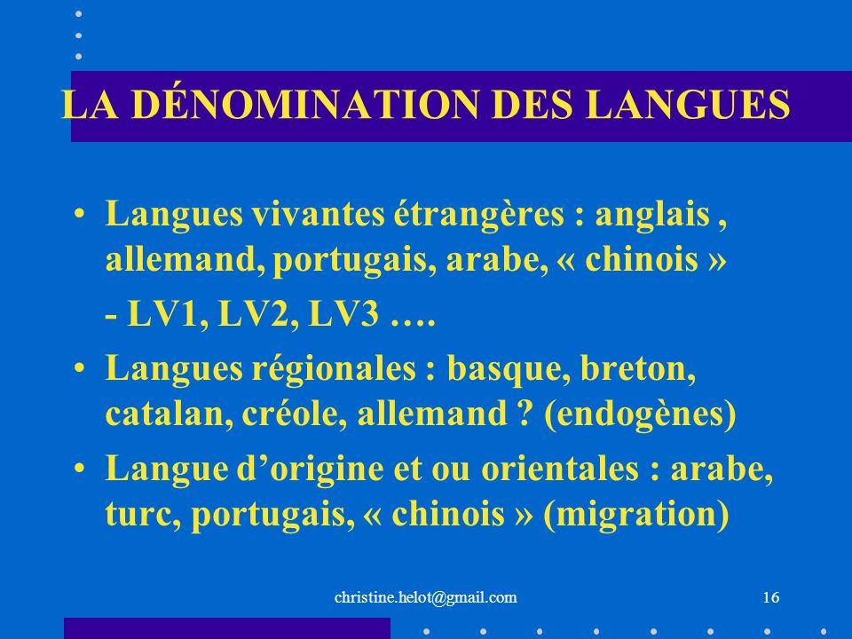 LA DÉNOMINATION DES LANGUES