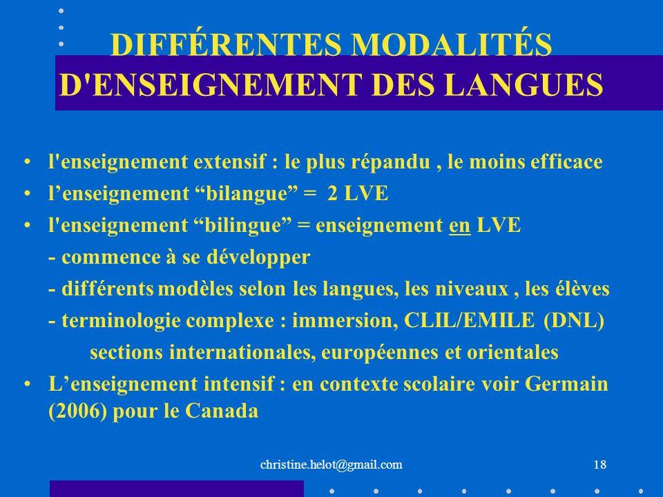 DIFFÉRENTES MODALITÉS D ENSEIGNEMENT DES LANGUES