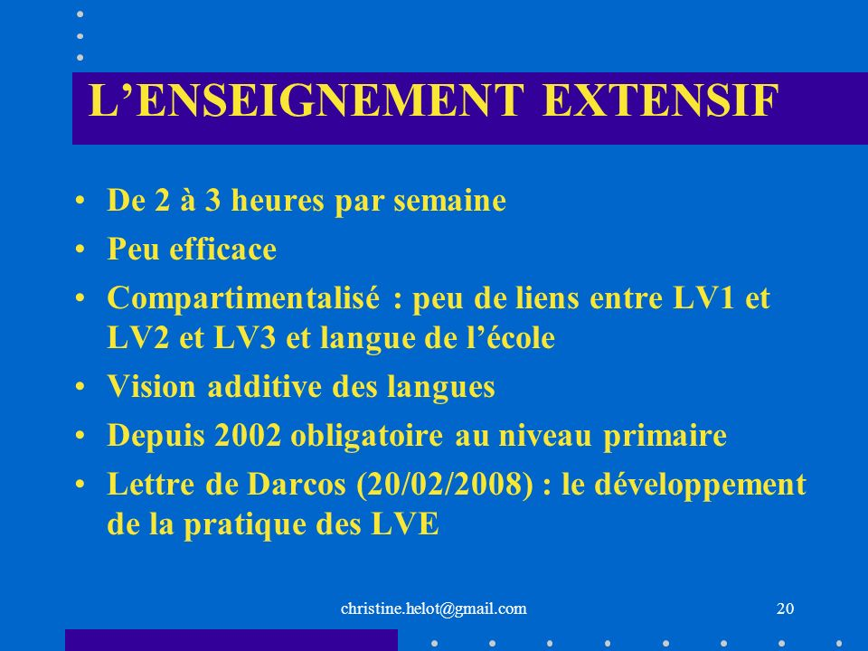 L'ENSEIGNEMENT EXTENSIF