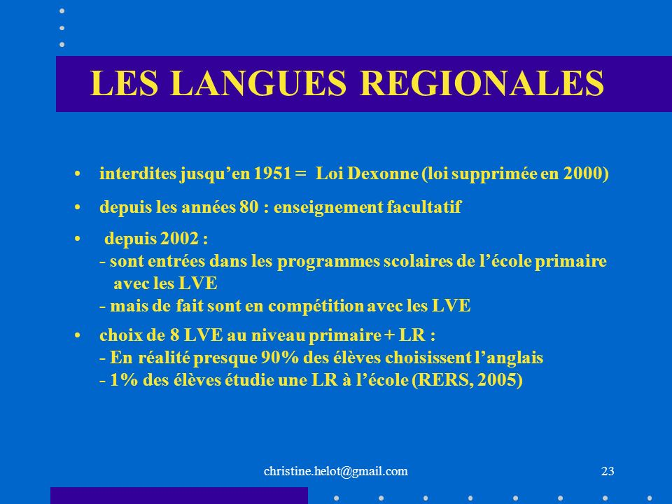 LES LANGUES REGIONALES