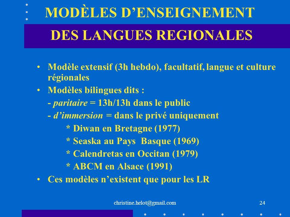 MODÈLES D'ENSEIGNEMENT DES LANGUES REGIONALES