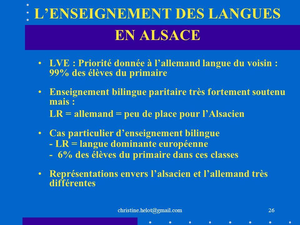 L'ENSEIGNEMENT DES LANGUES EN ALSACE